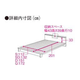 照明付きステージすのこベッド マットレス付き(国産ボンネルコイルマットレス付き) ベッド詳細図 ※赤字は内寸(単位:cm)