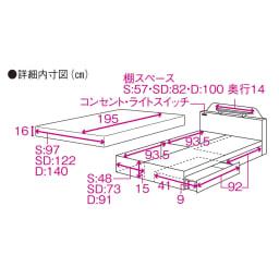 フランスベッド棚照明付きベッド マルチラススーパースプリングマットレス付き 詳細内寸図 ベッドは内寸図、マットレスは外寸図となります。