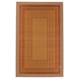 紋織りい草ラグ裏付き・太ベリ〈ランクス〉 (イ)ベージュ系 ※写真は約95×150cmタイプです。 ※タグのデザインは変更となる場合がございます。