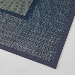 紋織りい草上敷き裏なし・細べり〈ランクス〉 素材アップ(ウ)ブルー系