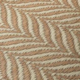 ヘリンボーン柄い草ラグ(ふっくら厚さ約14mm) (ア)ベージュ系 生地アップ