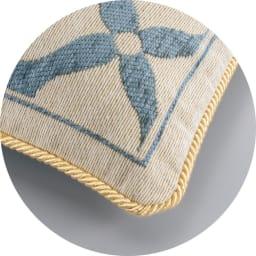 イタリア製マルチクロス「ミア」 クッションカバー約45×45cm用(カバーのみ・同色2枚組) クッションの縁はゴールドのロープ付き。