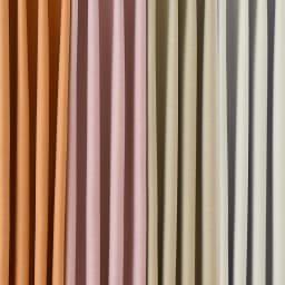 形状記憶加工多サイズ・防炎・1級遮光カーテン 100cm幅(2枚組) 左から(エ)ライトオレンジ(ウ)ピンク(イ)ライトベージュ(ア)アイボリー