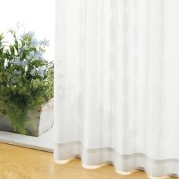 形状記憶加工多サイズ・防炎・UV対策レースカーテン 100cm幅(2枚組) (ウ)ウェーブホワイト