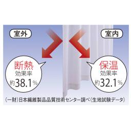ウェーブロン(R)使用 UVカットレースカーテン 2枚組 遮熱保温 夏涼しく冬暖かく、一年中快適です。 UVカット 紫外線カット率もアップ UVカットで紫外線を防ぎ、室内での日焼けや家具・フローリングの色あせを防止。 (一財)日本繊維製品品質技術センター調べ(生地試験データ)
