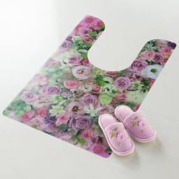 プリントトイレマット (ア)ピンク系 ※写真は耳長タイプです。スリッパは商品に含まれません。