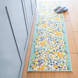 MINTON キッチンマット〈ガーデンナチュール〉 (イ)ブルー系(写真は約50×180cm)