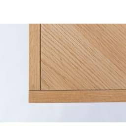 北欧調ヘリンボーンダイニングシリーズ ダイニングテーブル幅150cm 天板縁はオーク無垢材の丁寧な練り付け仕上げ。溝を入れたどこかレトロなデザイン。