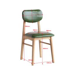 コンパクトなブルックリン風ワーキングシリーズ チェア 【PVCタイプ】PVCタイプは板座タイプに比べて座面高が2.5cm高くなっています。座った際にウレタンの沈み込みを考慮したサイズです。 ※写真は(ウ)グリーンです。