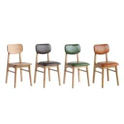 コンパクトなブルックリン風ワーキングシリーズ チェア 座面・背板が木材仕様の(ア)ナチュラルと、座面・背板がPVC仕様の(イ)ブラウン・(ウ)グリーン・(エ)キャメルの、合計4色展開のダイニングチェアです。デスクと合わせて作業用の椅子としてもオススメ。