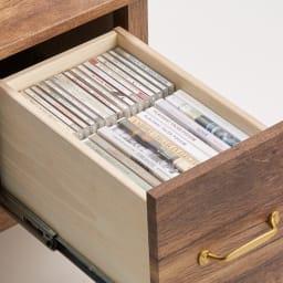 男前なブラウンヴィンテージ調シリーズ テレビ台 幅105cm テレビ台の引き出しには、DVDなどが効率的に収納できます。