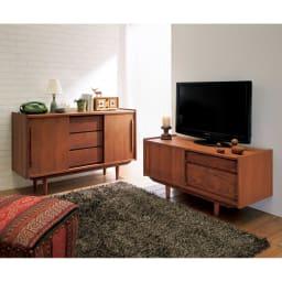 北欧ヴィンテージ風 チーク材 リビング収納 テレビ台 幅102cm 懐かしみのあるレトロなデザインが、ヴィンテージの趣を添えます。※お届けはテレビ台幅102cmです。