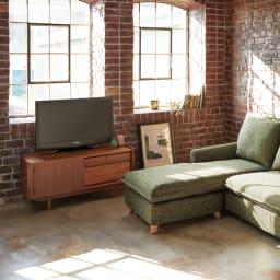北欧ヴィンテージ風 チーク材 リビング収納 テレビ台 幅102cm 人気の北欧インテリアにもぴったりです。