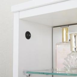 LEDライト付き 楽屋ドレッサーシリーズ ガラスキャビネット付き チェスト 幅45cm スイッチ式なので、ON/OFFも簡単。