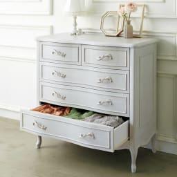 シャビーシック ホワイト フレンチ収納家具シリーズ チェスト 幅90cm 衣類収納にもぴったりの多段チェストです。