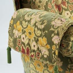 イタリア製 花柄が艶やかな金華山織張 DXソファ ラブ(2人掛け) 別売りで、汚れやすい肘掛用のカバーもご用意しております。