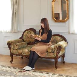 イタリア製金華山織シリーズ NEWデラックスカウチソファ 座るだけで上質な雰囲気に包まれます。
