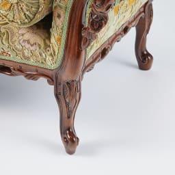 イタリア製金華山織シリーズ NEWデラックスカウチソファ 優美でエレガントな印象を与える曲線美が魅力の猫脚デザイン。
