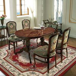イタリア製 金華山シリーズ 象がんオーバルダイニングテーブル シリーズ品の金華山織チェアと合わせると、一層華やかなコーディネートになりおすすめです。※お届けはオーバルダイニングテーブルです。