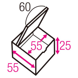 跳ね上げ式ユニット畳 ヘリ有りミニ半畳 高さ33cm 寸法図(単位:cm) ※赤文字は内寸、黒文字は外寸表示です。 収納部は仕切りなしでたっぷり入れられます。