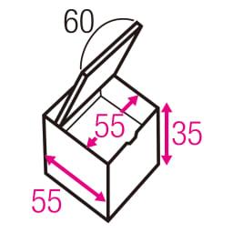 跳ね上げ式ユニット畳 ヘリ有りミニ半畳 高さ45cm 寸法図(単位:cm) ※赤文字は内寸、黒文字は外寸表示です。 収納部は仕切りなしでたっぷり入れられます。