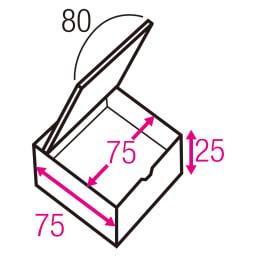 跳ね上げ式ユニット畳 ヘリ無し半畳 高さ33cm 寸法図(単位:cm) ※赤文字は内寸、黒文字は外寸表示です。 収納部は仕切りなしでたっぷり入れられます。