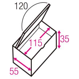 跳ね上げ式ユニット畳 ヘリ無しミニ1畳 高さ45cm 寸法図(単位:cm) ※赤文字は内寸、黒文字は外寸表示です。 収納部は仕切りなしでたっぷり入れられ、ゴルフバッグのような長尺物も収まります。