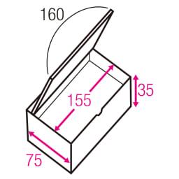 跳ね上げ式ユニット畳 ヘリ無し1畳 高さ45cm 寸法図(単位:cm) ※赤文字は内寸、黒文字は外寸表示です。※内寸高さは35→37.5cmに変更となりました。