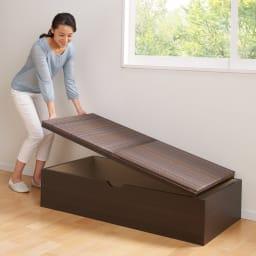 市松模様美草ユニット畳シリーズ セット品 高さ30cm 畳を持ち上げれば、出し入れもスムーズな収納スペースが出現。(※写真は1畳・高さ40cm)
