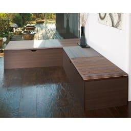 市松模様美草ユニット畳シリーズ セット品 高さ30cm コーディネート例(イ)ブラウン系[高さ40cmタイプ・4.5畳セット] コーナーベンチとしても。