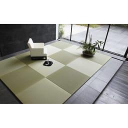 へりなしフロア畳 4.5畳用(9枚組)[い草ラグ] 畳の目を互い違いにするようにおけば写真のような市松模様に。