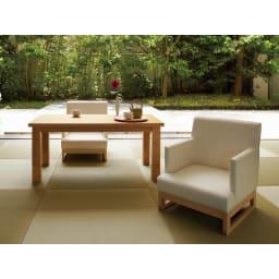 へりなしフロア畳 4.5畳用(9枚組)[い草ラグ] 使用例:畳の色は実際の商品と異なります。