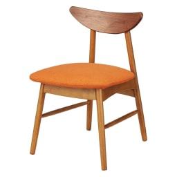 省スペース半円ダイニングセット 4点セット(テーブル幅90cm+カバーが洗えるチェア2脚組+カバーが洗えるベンチ) (カ)ダークブラウン×オレンジ