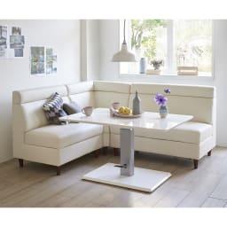 収納付きソファダイニング ダイニング4点セット(ソファ幅85cm+ソファ幅118cm+ソファコーナー+昇降式テーブル) 使用イメージ(ア)(ソファ)ホワイト&(テーブル)ホワイト