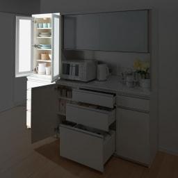 サイズが豊富な高機能シリーズ 食器棚引き出し 幅80奥行45高さ198cm/パモウナ VZ-S800K