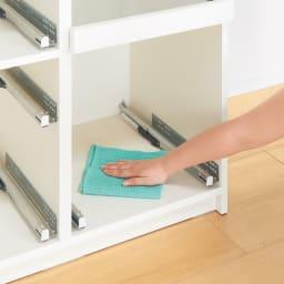 サイズが豊富な高機能シリーズ カウンター家電収納 幅100奥行45高さ84.8cm/パモウナ VZR-S-1000R VZL-S-1000R 引き出しも本体も、内部まで化粧仕上げ。お掃除が簡単で、いつも清潔。