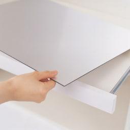 サイズが豊富な高機能シリーズ カウンター家電収納 幅160奥行50高さ84.8cm スライドテーブルのアルミ板は外して洗え、裏面も同じ仕様です。