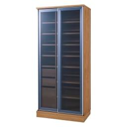 大型パントリーシリーズ スライド収納庫 ガラス扉 幅148cm (ウ)ブラウン ※写真は幅80cmタイプ