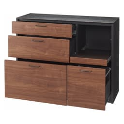 セラミック天板キッチンカウンター 幅120cm (ア)ブラウン