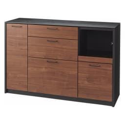 セラミック天板キッチンカウンター 幅140cm (ア)ブラウン