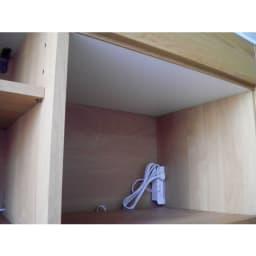 アルダー天然木人工大理石トップ 間仕切り家電収納キッチンカウンター 幅144cm 家電収納部天井は蒸気の出る家電に配慮した水に強い素材。