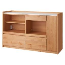 アルダー天然木人工大理石トップ 間仕切り家電収納キッチンカウンター 幅144cm (ア)ナチュラル
