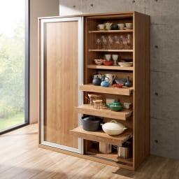 食器が取りやすい引き戸式魅せる収納庫 幅140奥行50cm (イ)ブラウン ※写真は幅140奥行57.5cmタイプです。