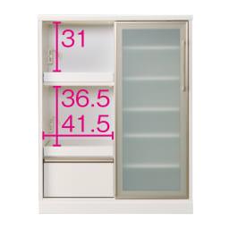 大型引き戸ハイカウンター 幅90cm (ウ)ホワイト ※オープン部奥行内寸(単位:cm)=37.5
