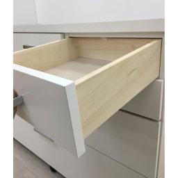 【分類して効率収納】引き出しいっぱいステンレストップカウンター 幅60cm 引出し小は上部にストッパー付きなので安心です。