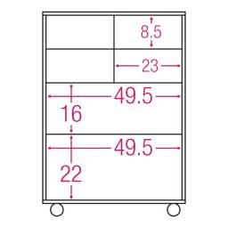 【分類して効率収納】引き出しいっぱいステンレストップカウンター 幅60cm 内寸図(単位:cm)