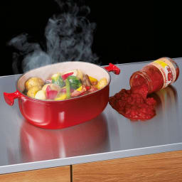 ステンレストップ間仕切りカウンター 幅89cm 熱い鍋や濡れたものも置けるステンレス天板。お手入れも簡単。