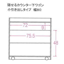 隠せるカウンター下収納 棚タイプ 幅79高さ80cm 内寸図(単位:cm)