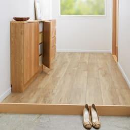 カウンター天板下にすっきり納まる薄型奥行17cm隠せる収納庫 幅117cm 玄関にも省スペースで。
