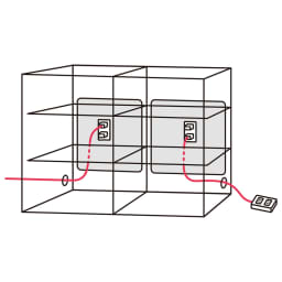 アルダーカウンター下収納庫(奥行29.5cm) 幅120高さ70cm コード穴は側面の両側面にあります。 コード穴から出して天板に電話を置くなど便利に使えます。